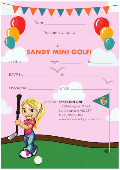 Sandy Mini Golf Party Invitations (Girl)
