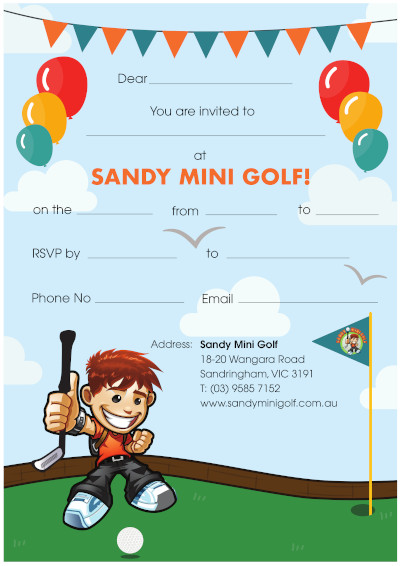 Mini golf parties at sandy mini golf sandy mini golf party invitations boy filmwisefo